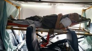 Patient shifted through commercial flight on stretcher from Kathmandu to Delhi