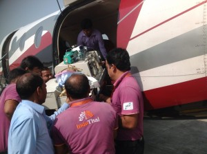 Patient with Stretcher & Instruments insid the Charter Plane